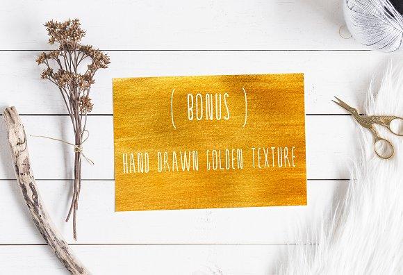 SERENA gold. Font & golden flowers.