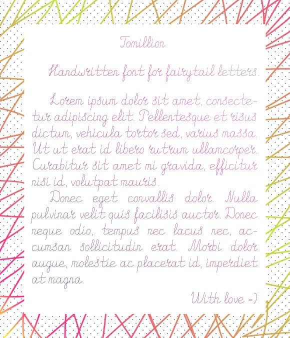 Tomillion. Handwritten font