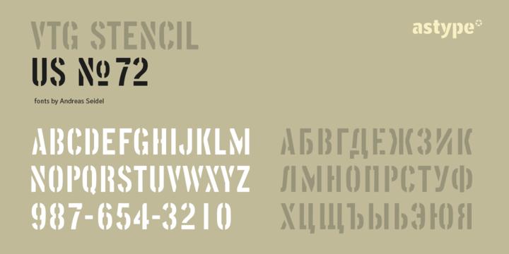 Vtg Stencil US No 72 Font Family