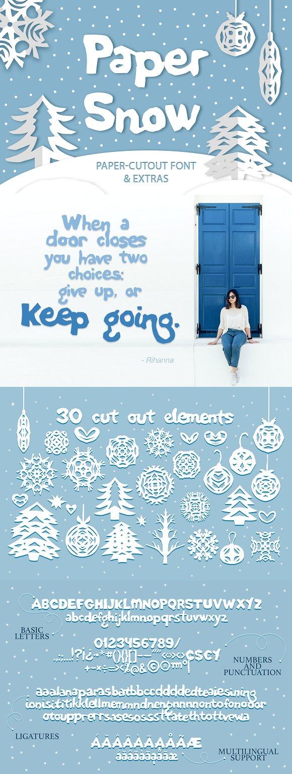 Paper snow Cut out font & extras Font