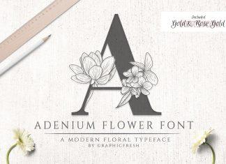 Adenium Font + Gold & Rose Gold Foil