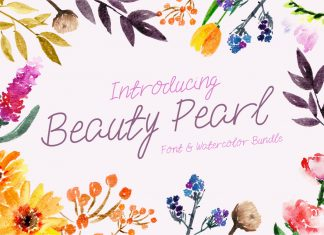 Beauty Pearl Font & Watercolor Floral Bundle