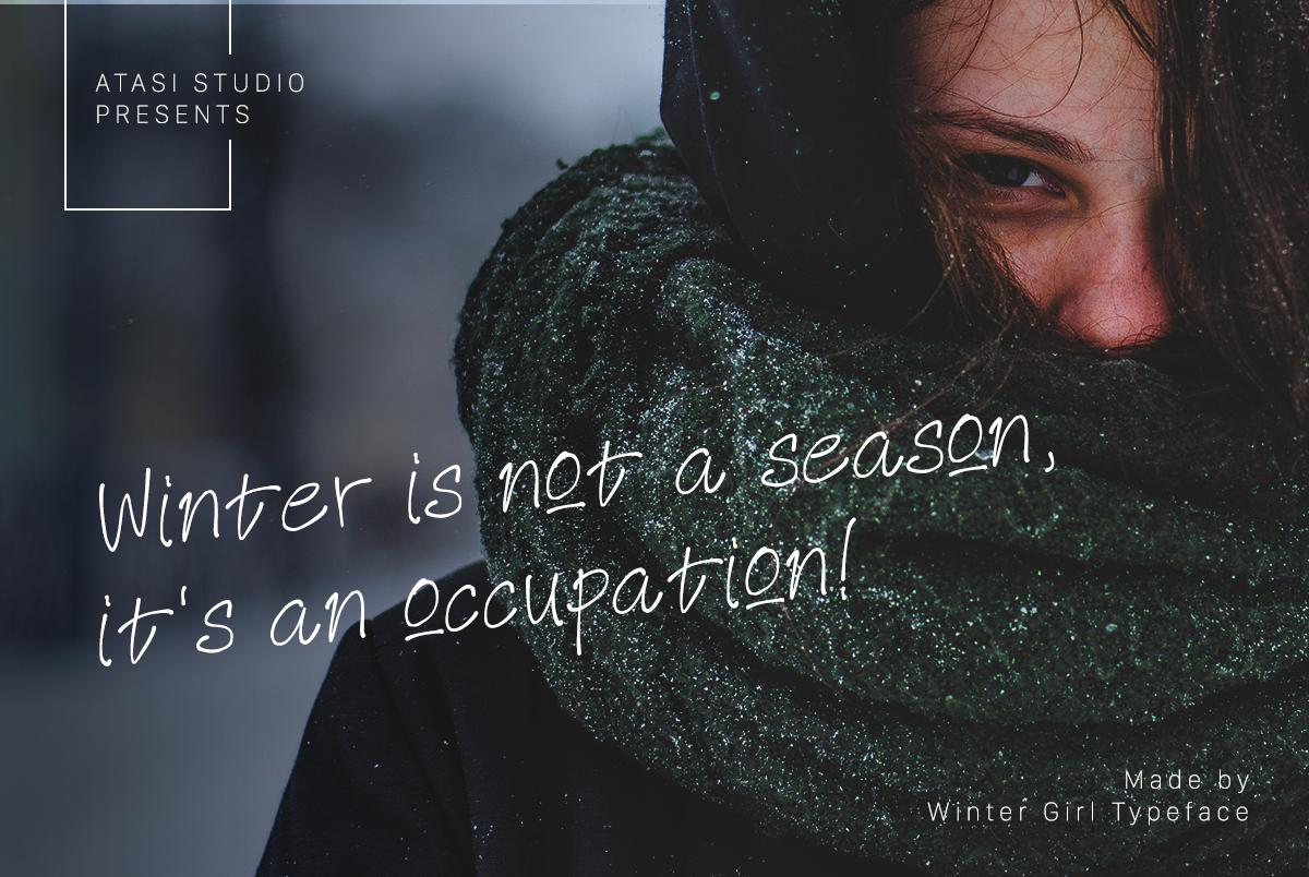Winter Girl Font & Watercolor Winter Theme Bundle Script Font