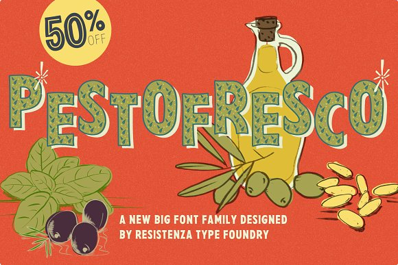 Pesto Fresco 28 fonts 50%Off