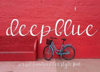 deep blue script handwritten Font