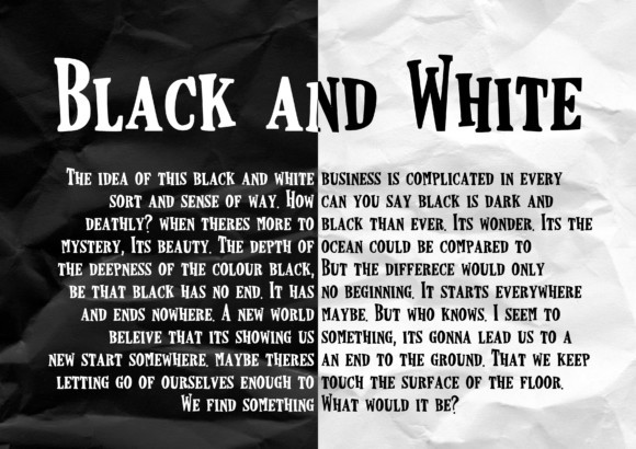 Black and White Font