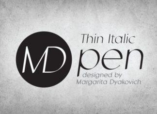 MD Pen Thin Italic Font